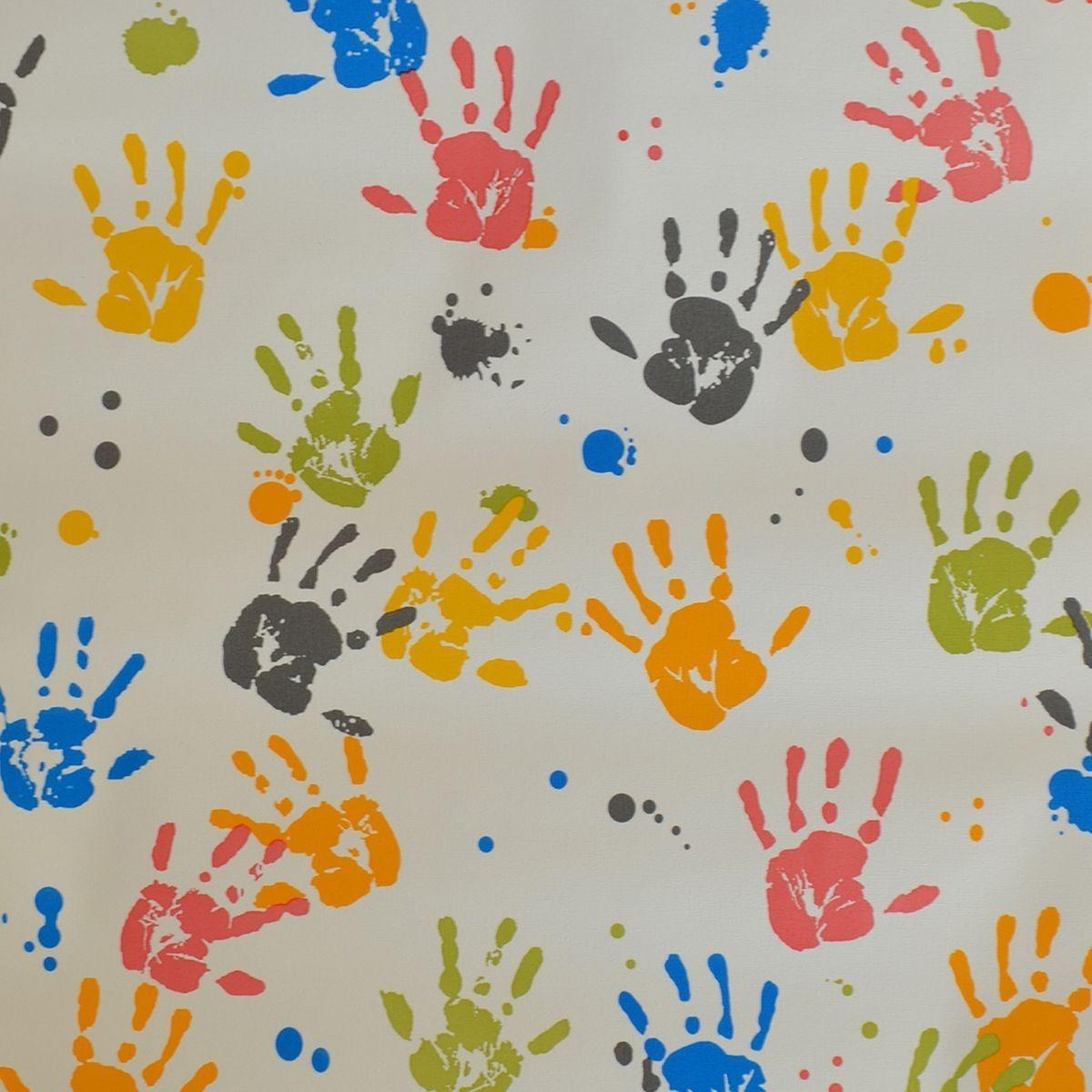 Papel De Parede De Pvc 0 53 X 10m Desenho Maos Coloridas R