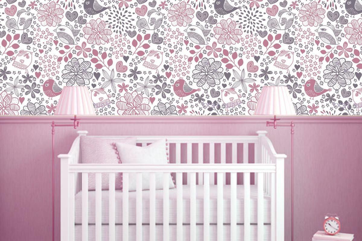 Papel De Parede Decora O Infantil Quarto Bebe Florais 1m R 34  ~ Cor De Parede Para Quarto De Bebe