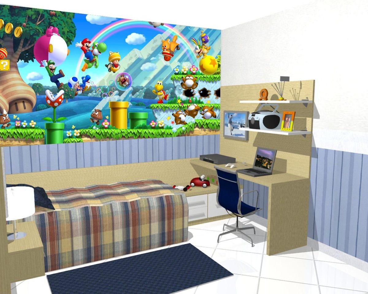 Papel De Parede Decora O Quarto Super Mario Kart Painel 5m R  ~ Mural De Fotos Na Parede Do Quarto