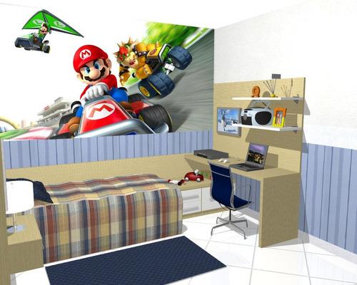 Papel De Parede Decoração Quarto Super Mario Kart Painel
