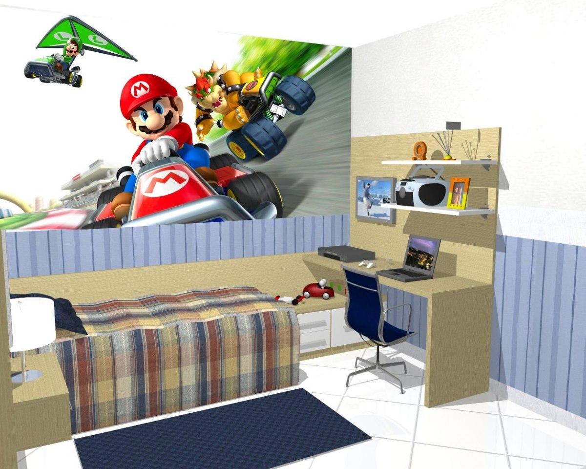 Papel De Parede Decora O Quarto Super Mario Kart Painel 9m R  ~ Foto De Papel De Parede Para Quarto