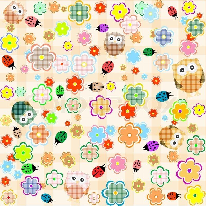 Papel De Parede Delicado Coruja Flores Flor Floral Desenhos R