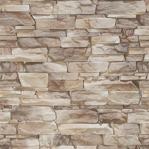 papel de parede em 3d pedras canjiquinha bege mod.114