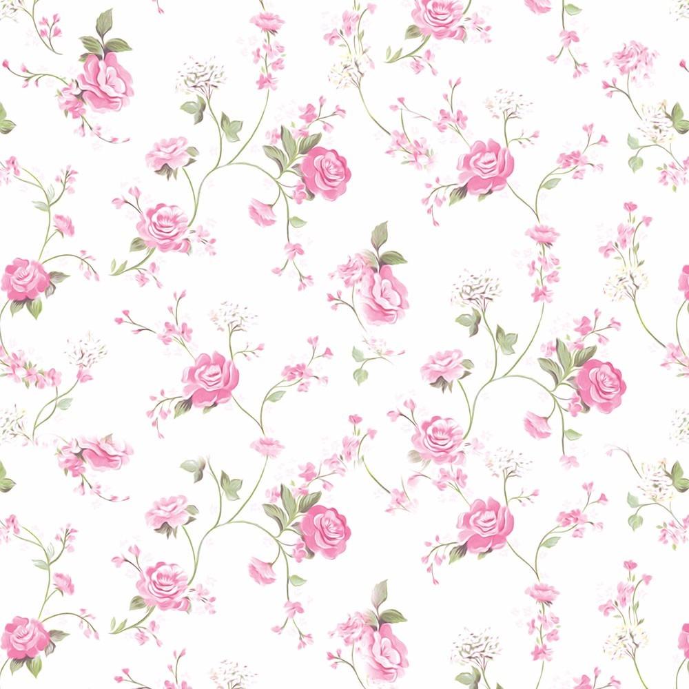 Loja Artesanato Zona Sul ~ Papel De Parede Floral Branco Rosa Lavável Adesivo Vinilico R$ 45,00 em Mercado Livre