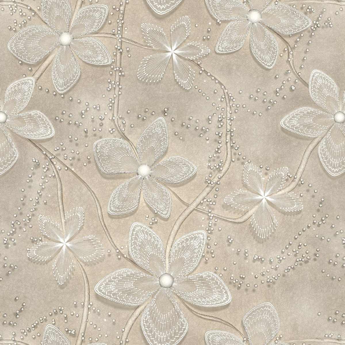 Papel de parede floral cinza em 3d lav vel vinil 2 80m r - Papel vinilico para paredes ...