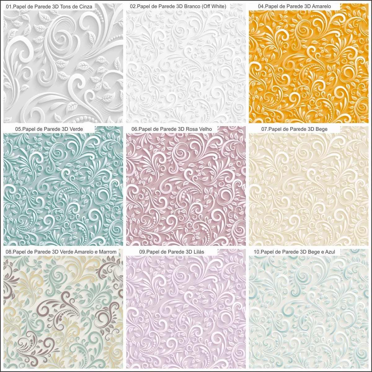 Papel de parede floral efeito 3d r 44 90 em mercado livre for Papel para paredes salon