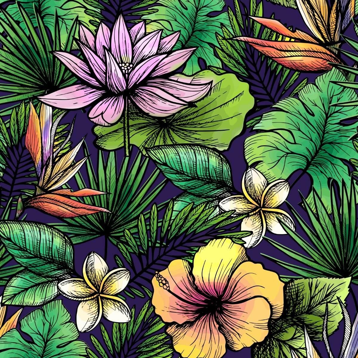 Papel De Parede Floral Estilo Desenho Flores Colorida Folhas R