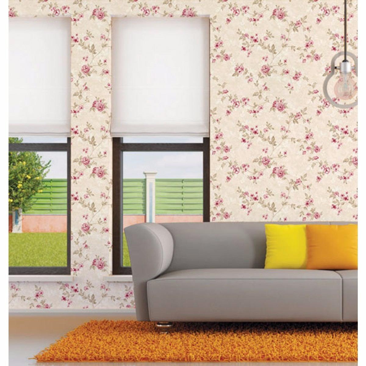 Papel de parede floral rosa adesivo contact vin lico lavavel r 47 00 em mercado livre - Vinilico para paredes ...