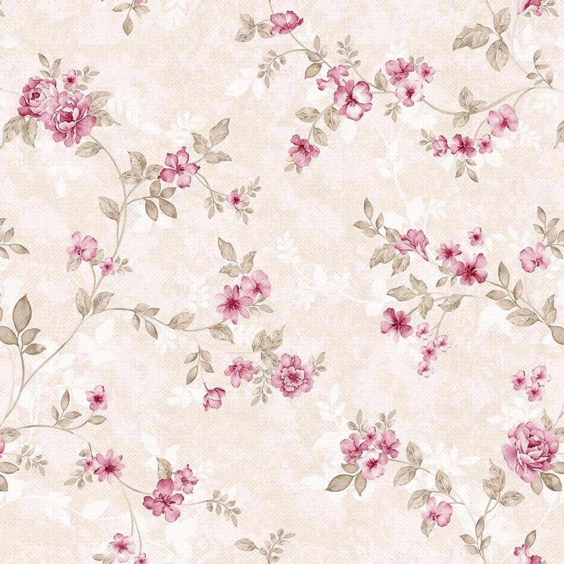 Papel de parede floral rosa adesivo contact vin lico - Papel vinilico para paredes ...