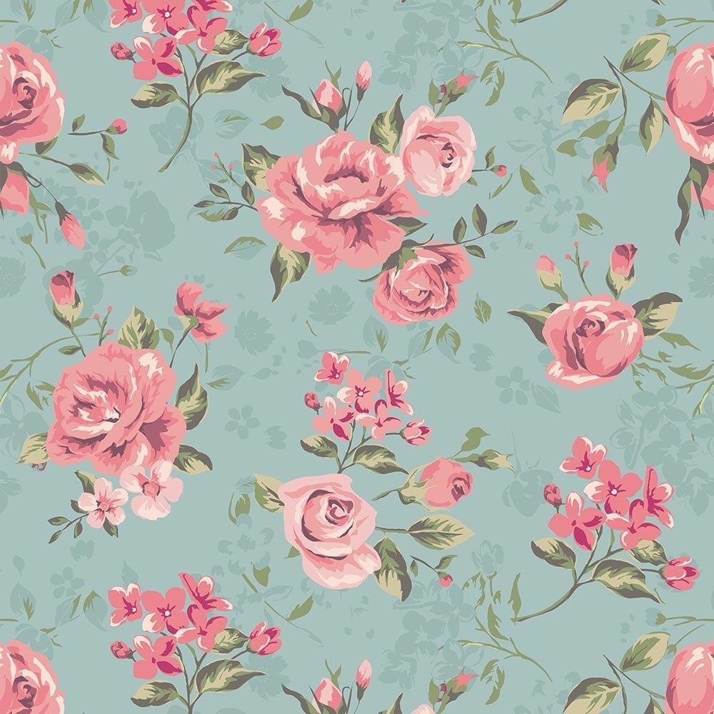 Papel de parede floral rosa verde adesivo vinilico 3 for Papel decorado rosa