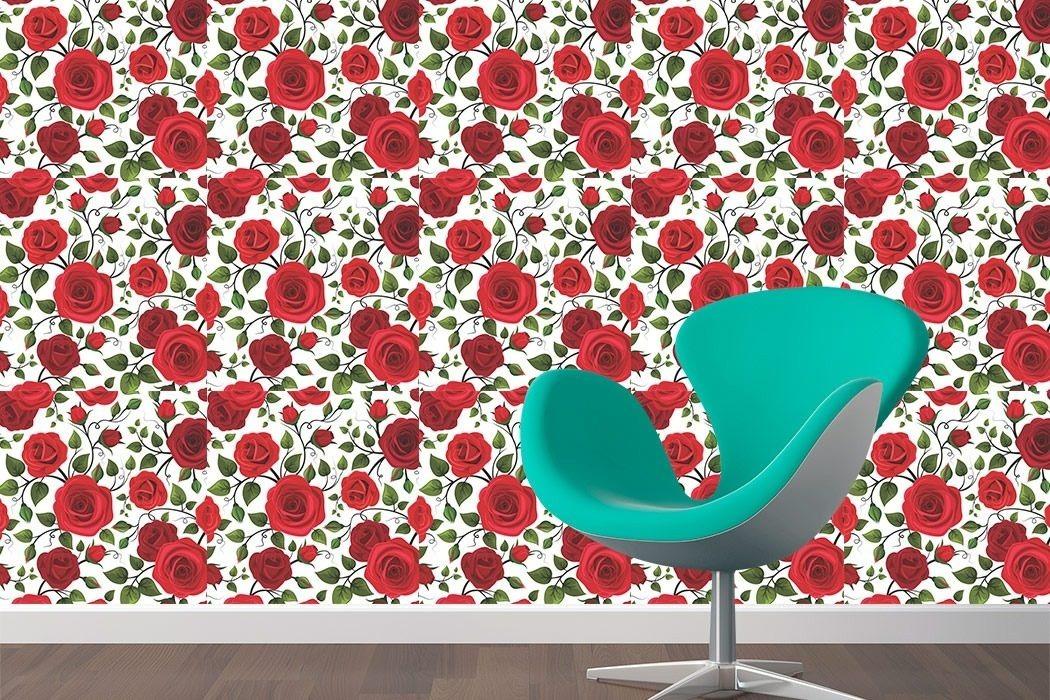 Papel De Parede Floral Rosas Vermelhas Adesivo 3mx58cm 256