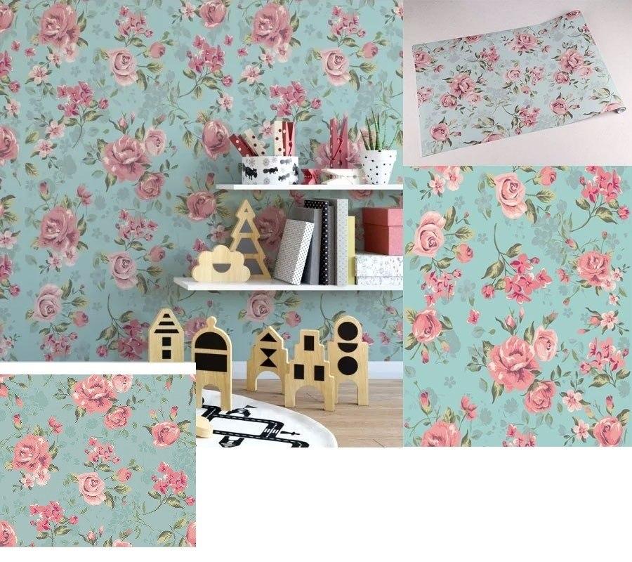 Papel de parede flores rosas floral adesivo decorativo flor r 79 99 em mercado livre - Papel para paredes decorativo ...