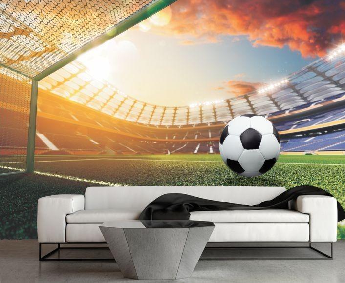Esporte Tileable Papel De Parede Colorido: Papel De Parede Futebol 3d Esporte Adesivo Bola Jogo Gg136