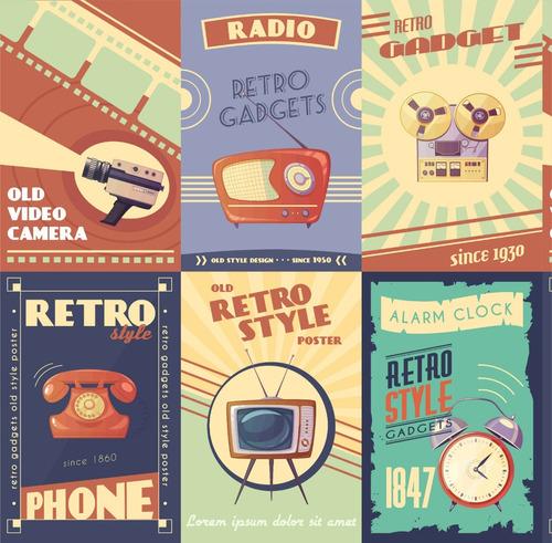 papel de parede gadget retrô vintage placas radio telefone