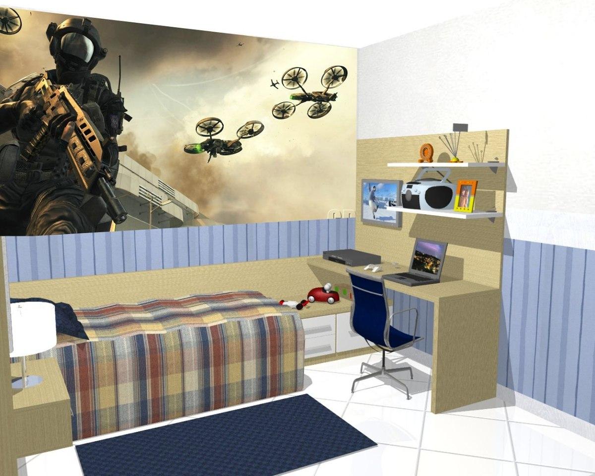 Papel De Parede Games Quarto Call Of Duty Jogo Painel 4m R 149  ~ Decorando Meu Quarto Com Papel Parede De Quarto