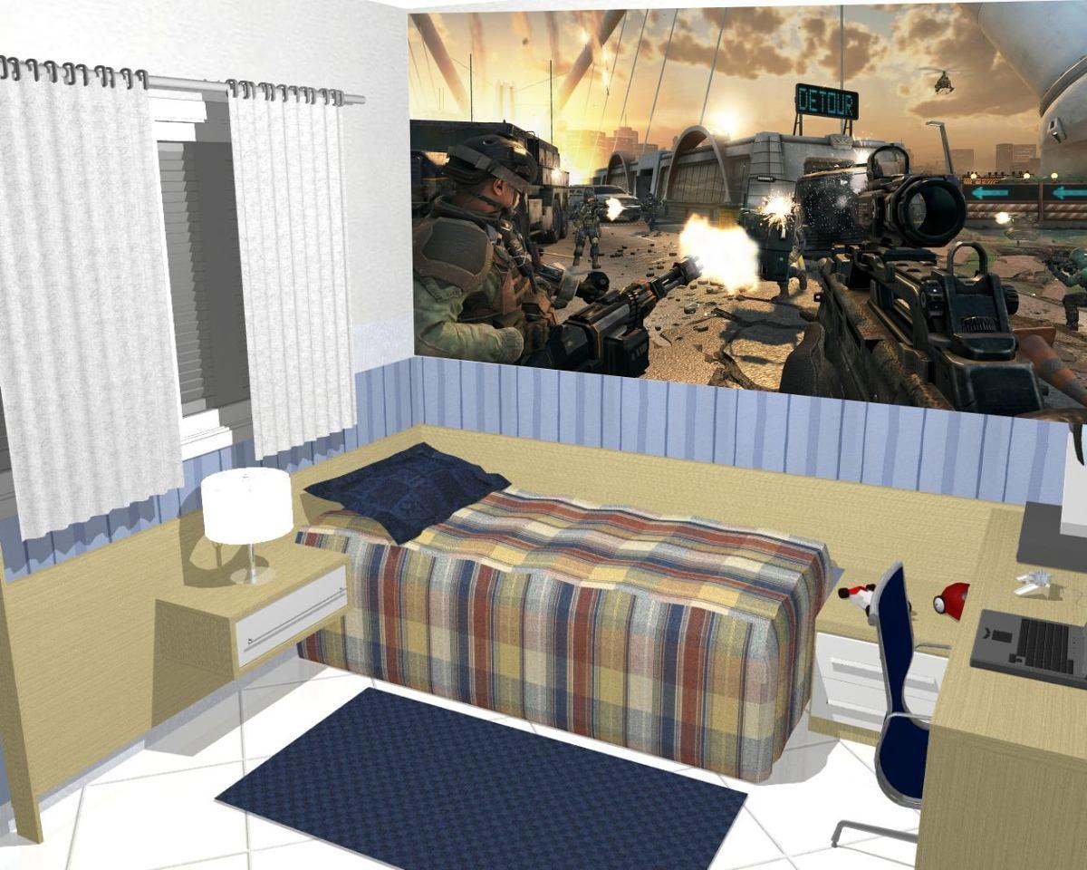 Papel De Parede Games Quarto Call Of Duty Jogo Painel 4m R 149  ~ Foto De Papel De Parede Para Quarto