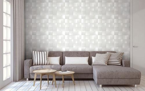 papel de parede geométrico 3d quadrado bobinex 4716 + cola