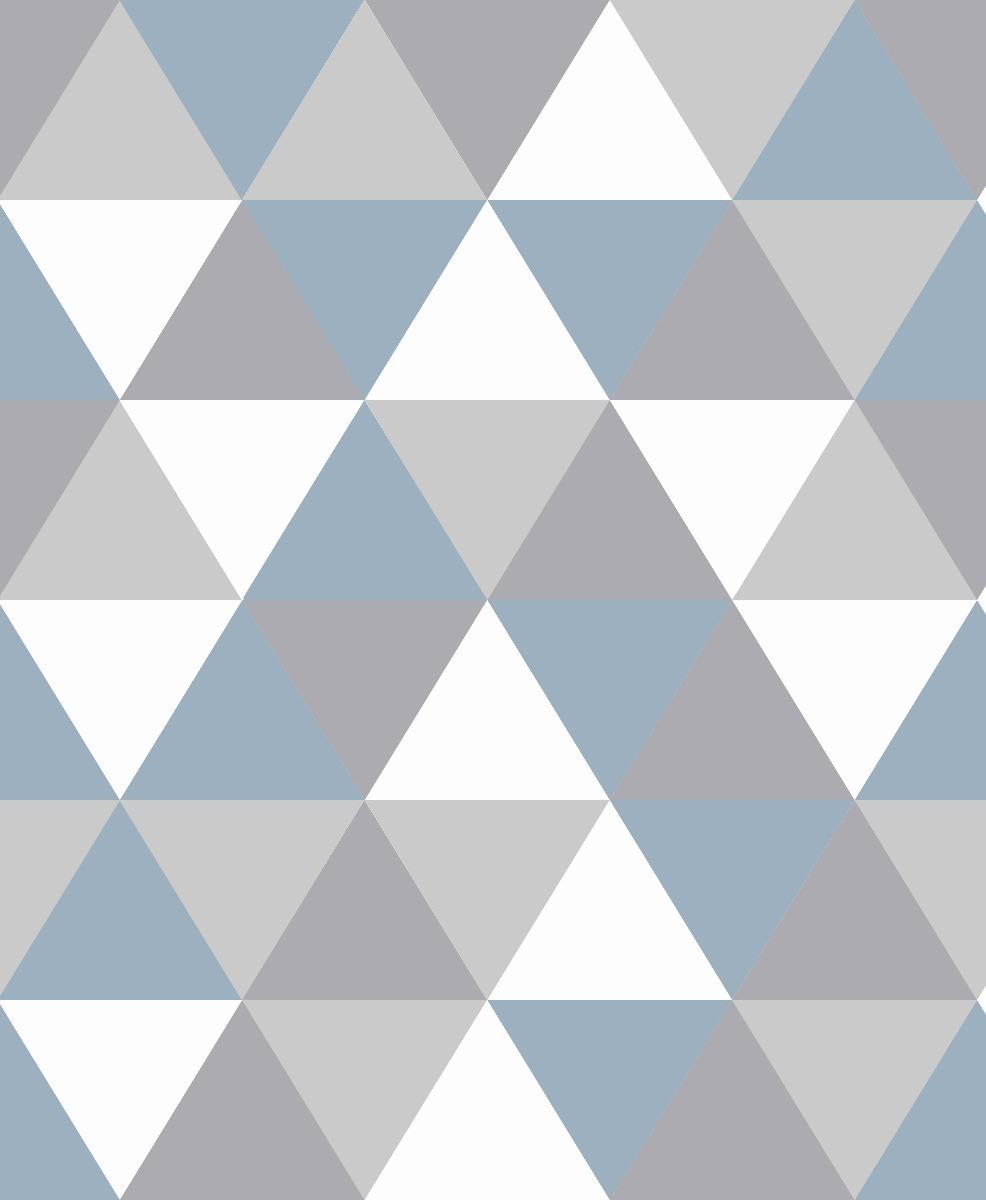 Papel De Parede Geometrico Cinza Azul E Branco Mod 59