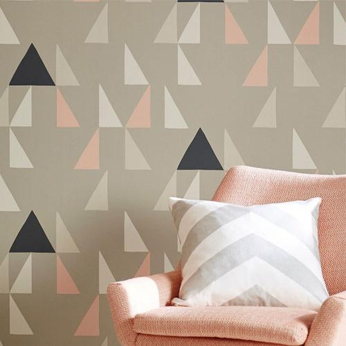 papel de parede geométrico nude, preto, rosa e cinza - mod37