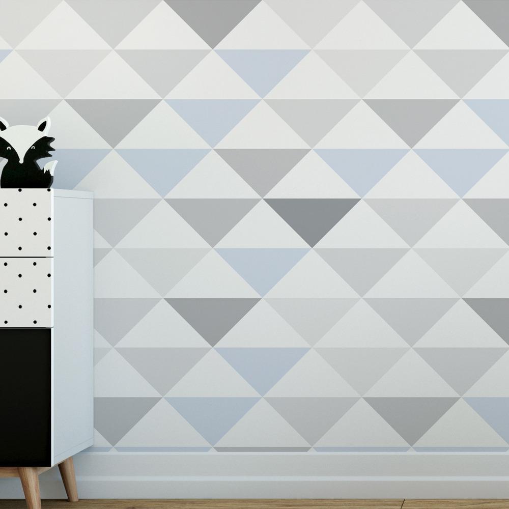 6d08e8502 papel de parede geométrico triangulo azul cinza adesivo 10m. Carregando zoom .