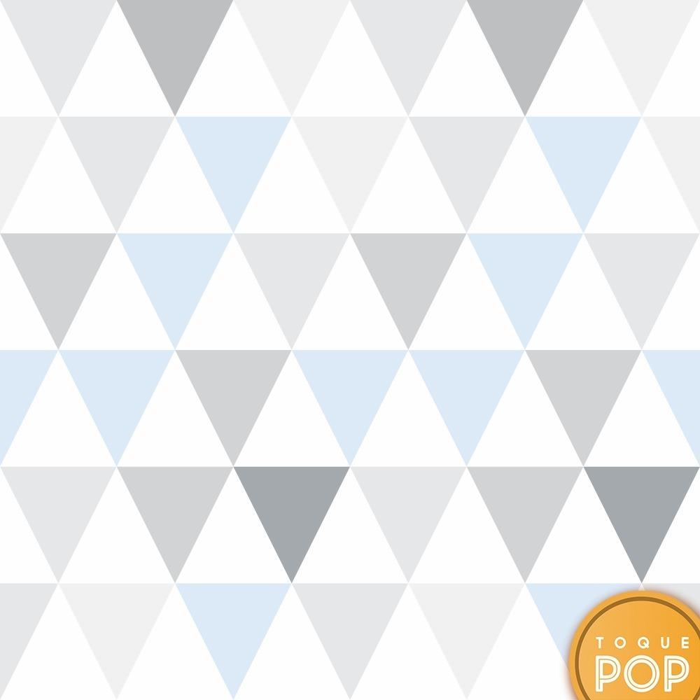 Papel De Parede Geometrico Triangulo Azul Bebe Cinza 2 5mts