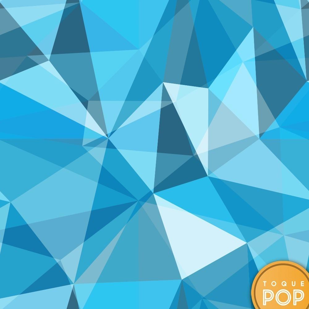 Papel De Parede Geometrico Triangulo Azul Tons Moderno 3m