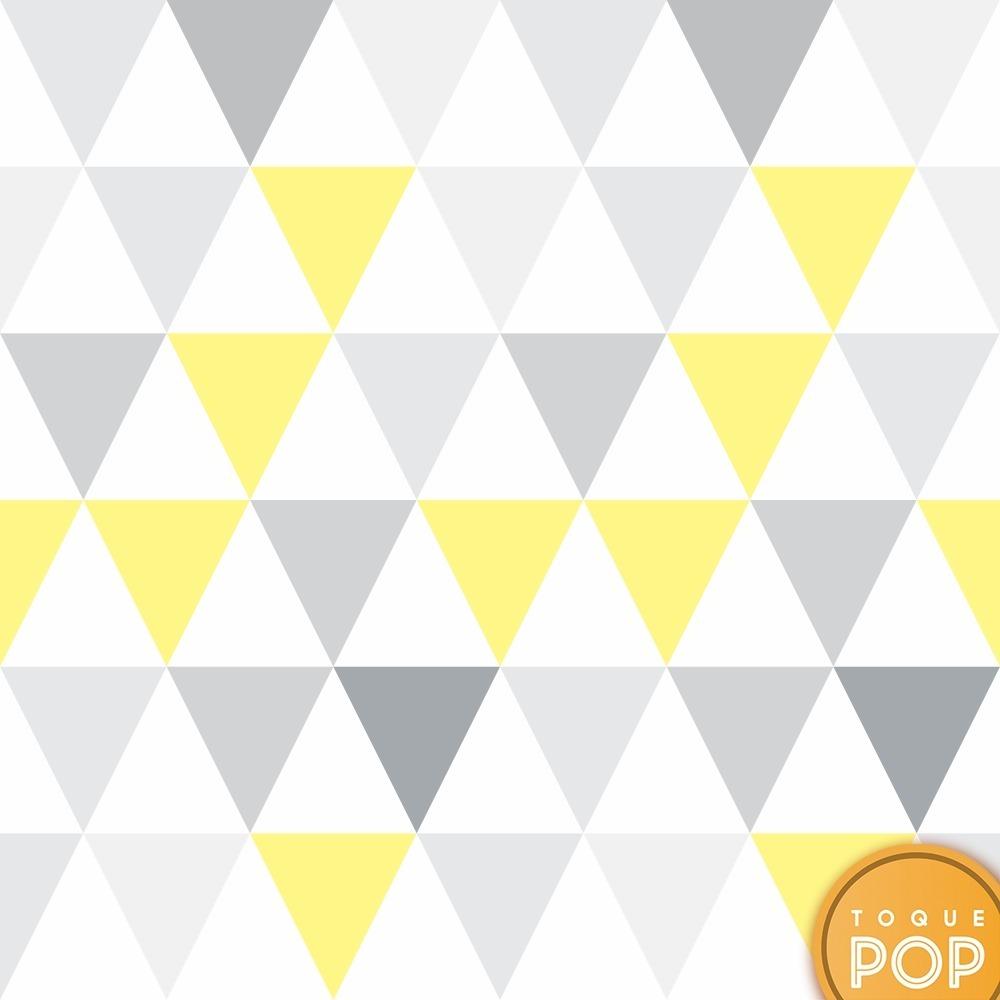 90ab8dbd5 papel de parede geométrico triângulo cinza amarelo rolo 10m. Carregando zoom .
