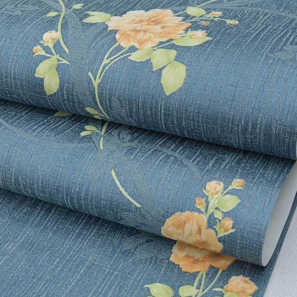 Papel De Parede Importado Floral Azul Turquesa Flores Salm O R  ~ Papel De Parede Azul Tiffany Quarto