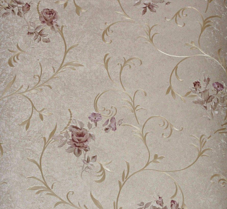 Papel de parede importado floral textura alto relevo rosas for Papel para paredes baratos