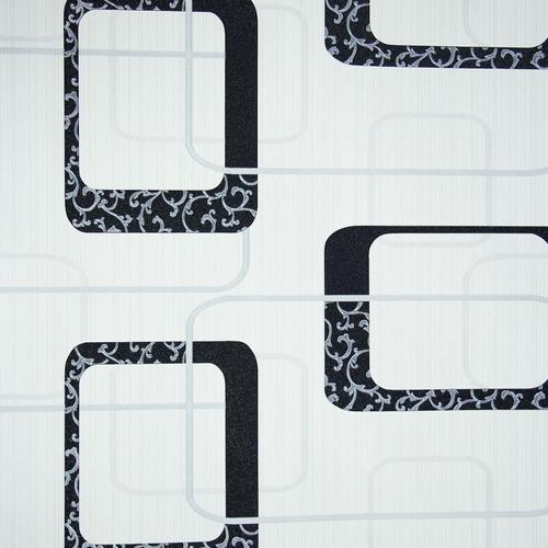 papel de parede importado geométrico off white cinza preto