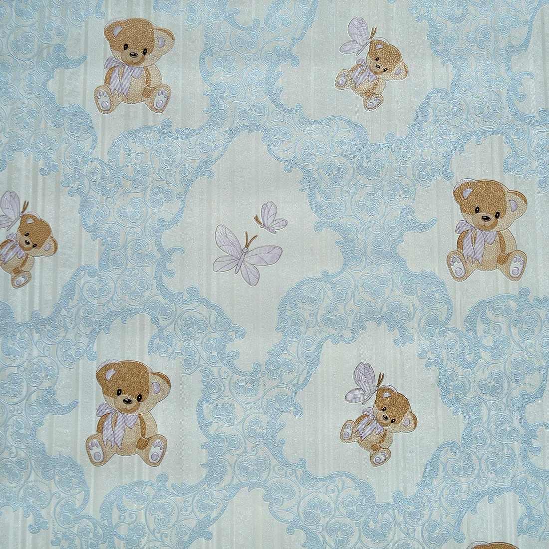 Papel de parede importado textura infantil beb ursinho for Papel para empapelar infantil