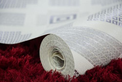 papel de parede importado vinílico lavável prata geométrico