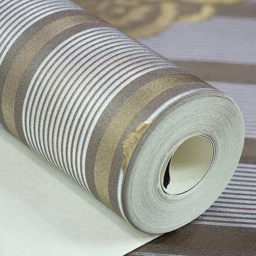 papel de parede importado vinílico listrado marrom prata