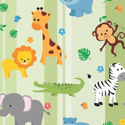 papel de parede infantil animais safari baby teen - ref 4391