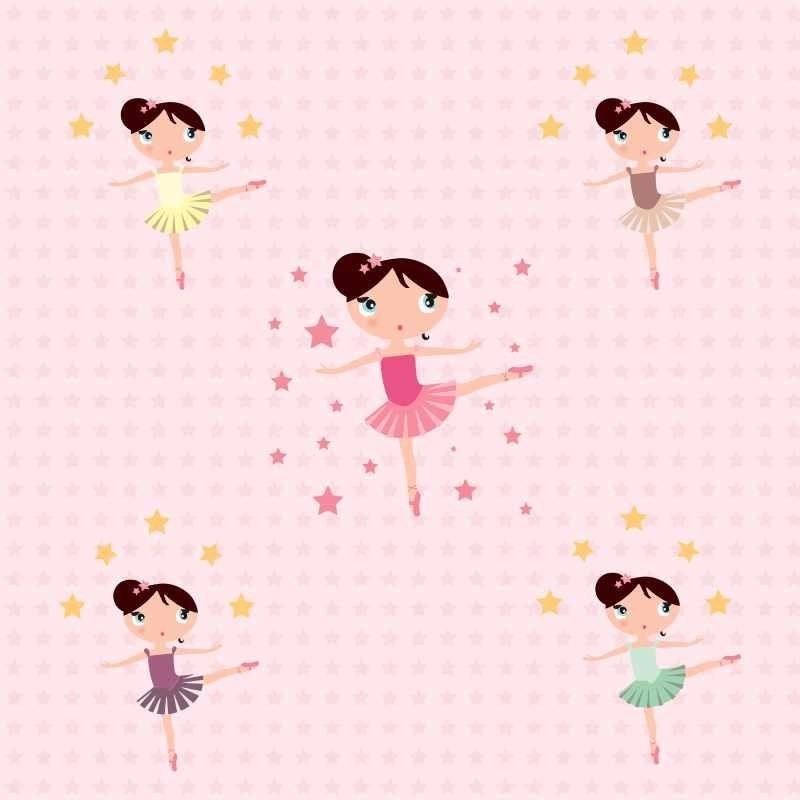 Adesivo Azulejo Pastilha Resinada ~ Papel De Parede Infantil Bailarina Rosa Adesivo De Parede R$ 45,00 em Mercado Livre