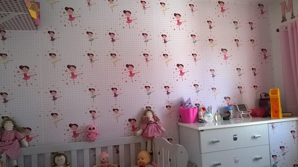 Aparador Estreito Para Sala ~ Papel De Parede Infantil Bailarina Rosa Adesivo Pvc R