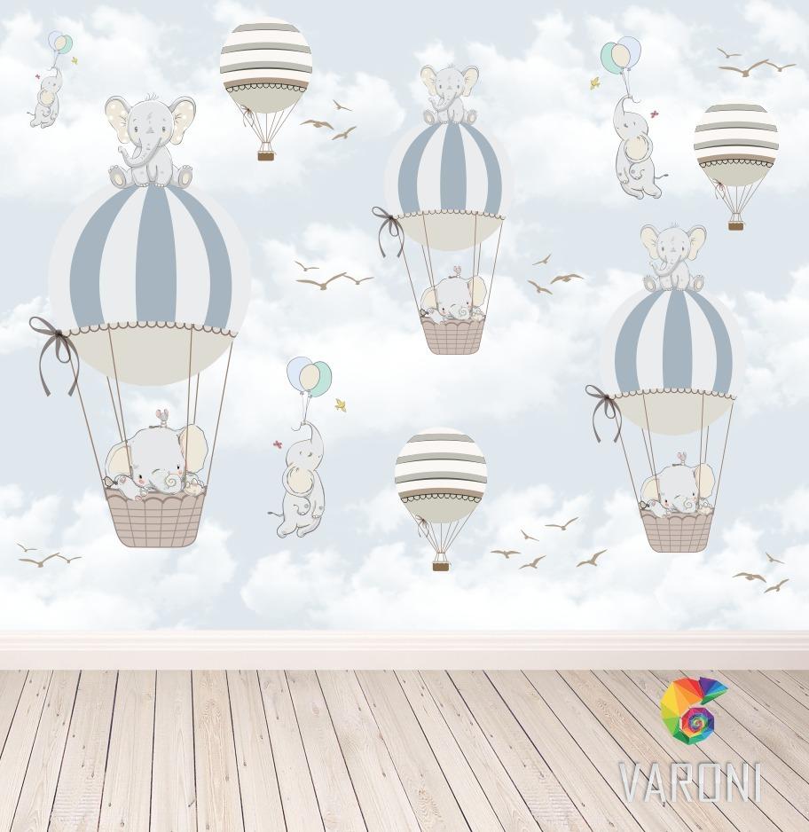 Papel de parede infantil bal es elefante autocolante r - Papel infantil para paredes ...