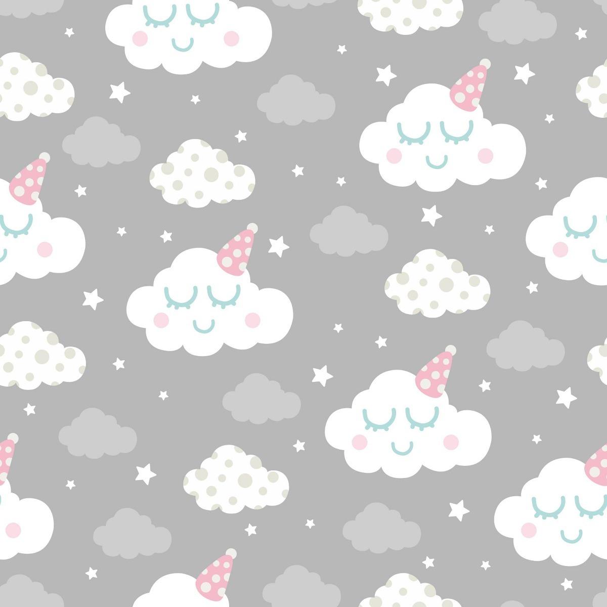 Papel de parede infantil bebe nuvens cinza unissex 10m r - Papel infantil para paredes ...
