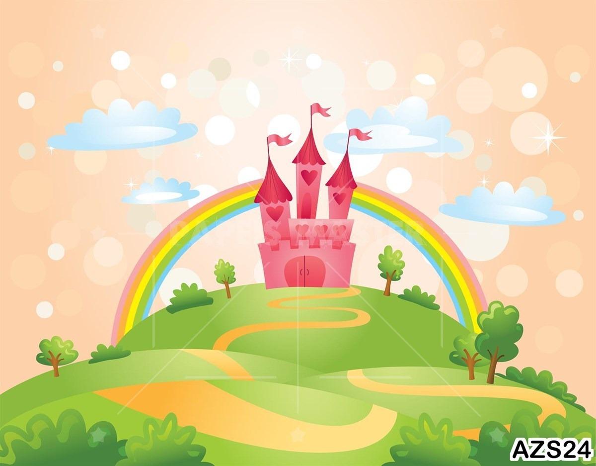 Papel De Parede Infantil Castelo Arco Iris Baby M Azs24 R 40