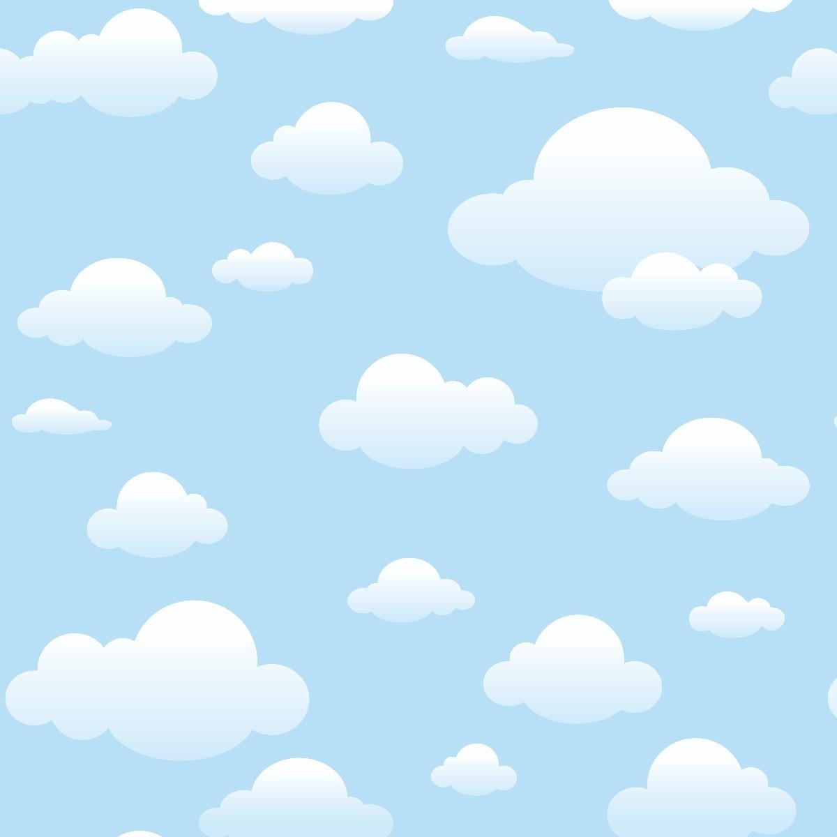 Papel De Parede Infantil Ceu Azul Nuvens Adesivo 2 5m 1341 R