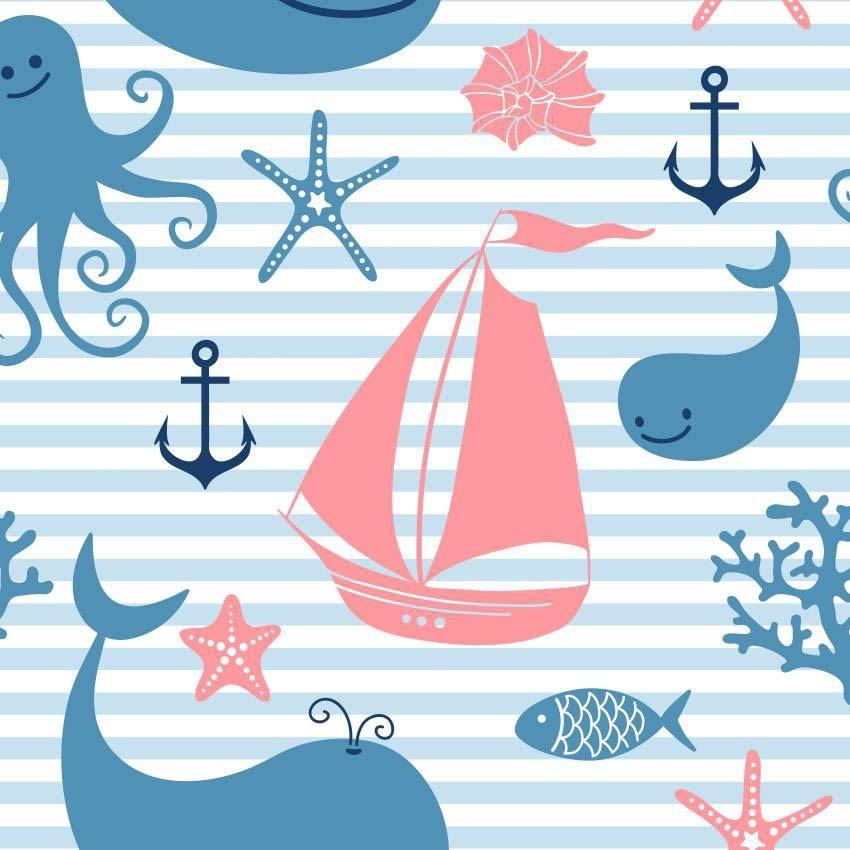 Papel De Parede Infantil De Quartos Desenho De Barcos R 45 00