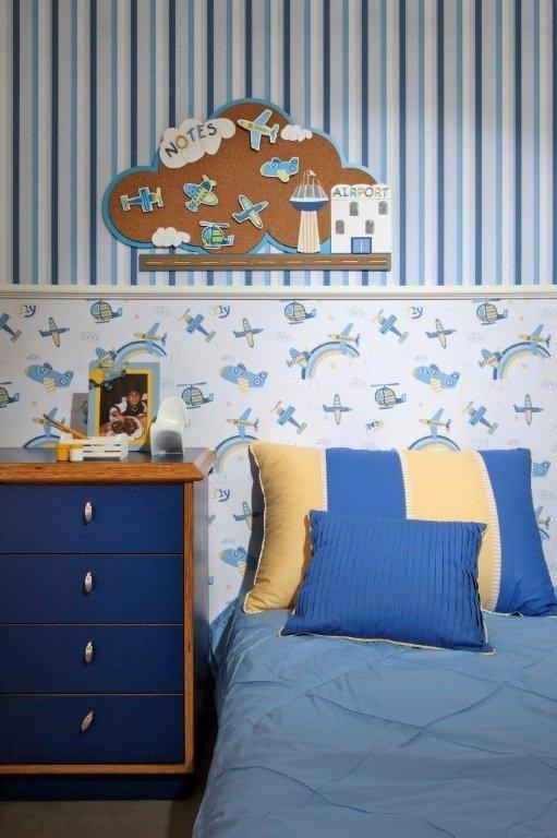 Papel de parede infantil menino listras azul r 109 00 - Papel infantil para paredes ...