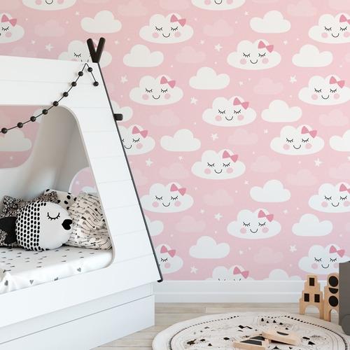 papel de parede infantil nuvem chuva nuvens rosa - ref 4779