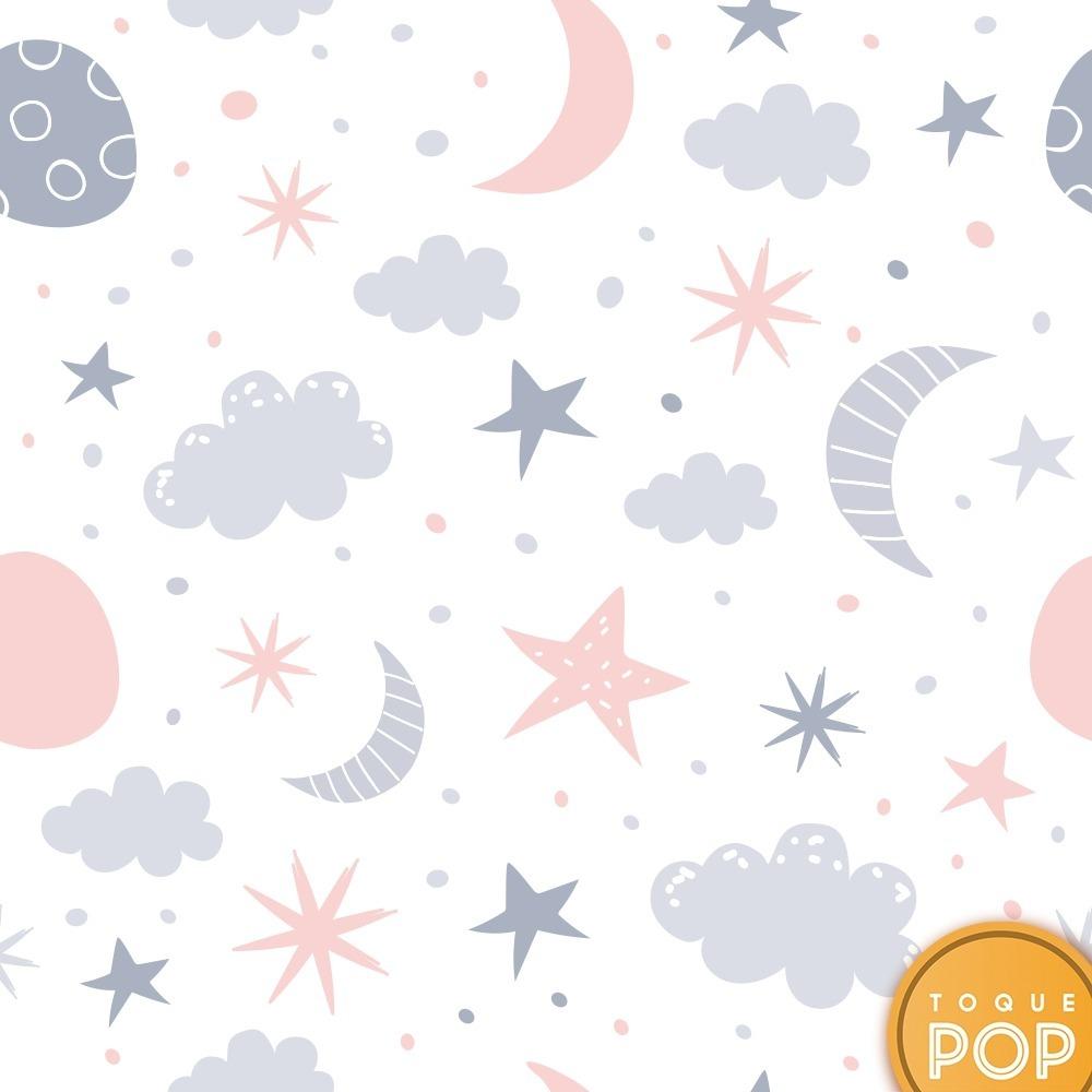 Artesanato Mineiro Em Madeira ~ Papel De Parede Infantil Nuvem Estrelas Céu Lua Adesivo
