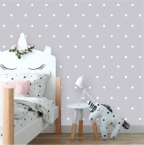 papel de parede infantil poá branco, fundo cinza