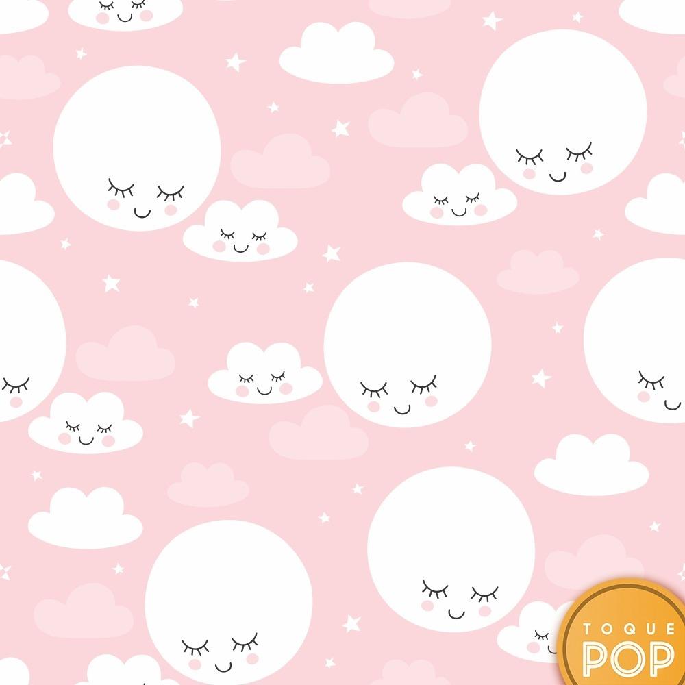 Papel de parede infantil rosa nuvem lua kit 8 rolo 3m r - Papel infantil para paredes ...