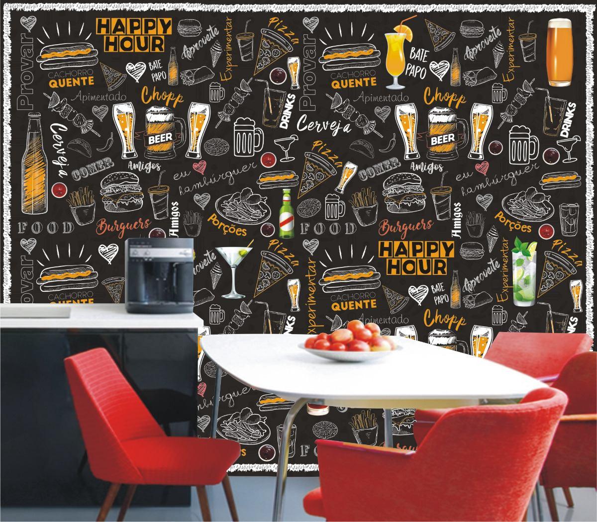 Papel De Parede Lousa Adesivo Cozinha Colorida Bar Sala M108 R  -> Papel De Parede Para Sala Londrina
