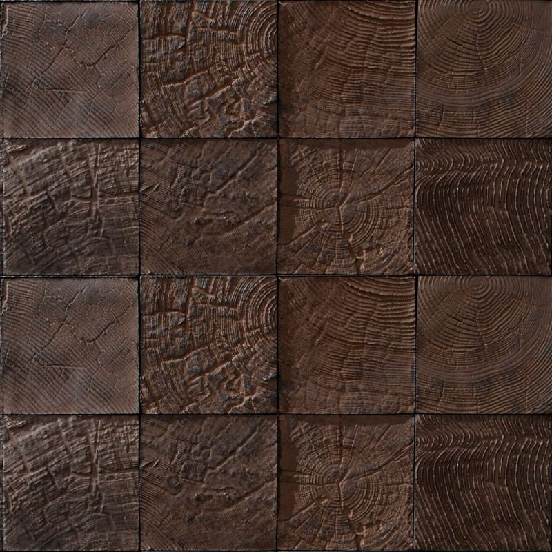 Papel de parede madeira rustica natural mosaico 3d for Mosaico adesivo 3d