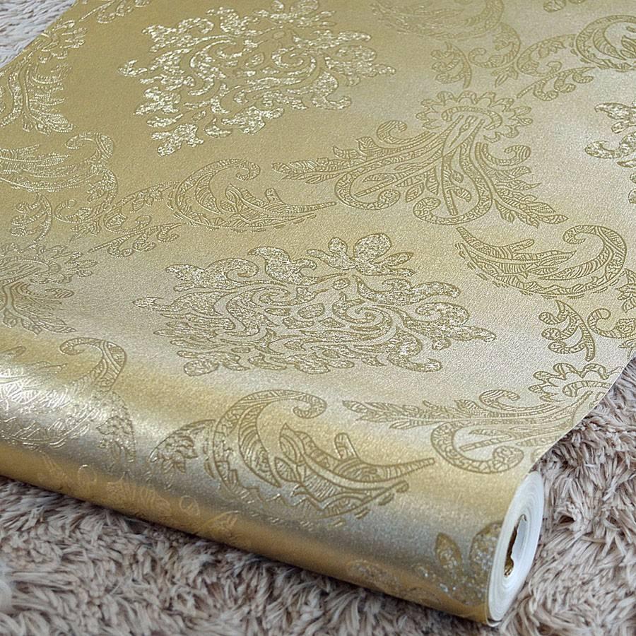 Papel de parede metalizado alto relevo arabescos dourado - Paredes de papel ...