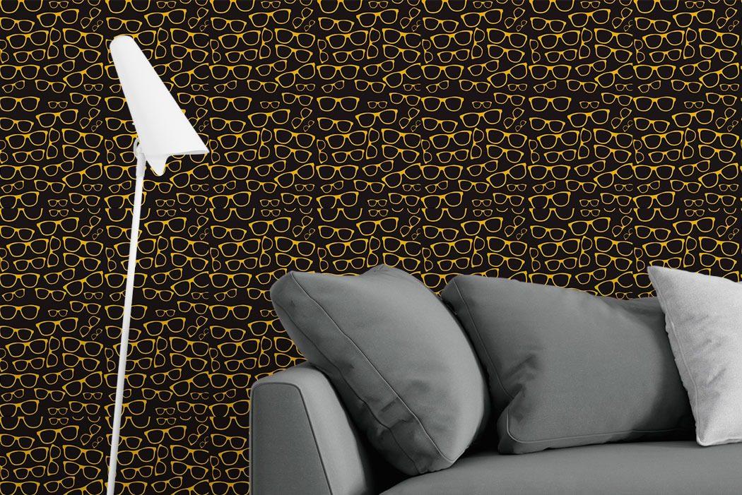 9a968b98b papel de parede óculos preto/dourado adesivo vinílico-997. Carregando zoom.